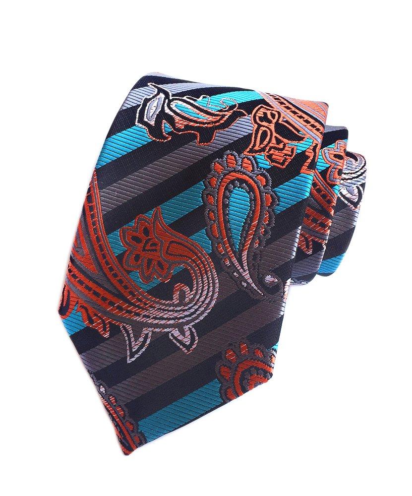 Secdtie Men Stripe Paisley Tie Black Silver Grey Blue Orange Party Necktie YUF03
