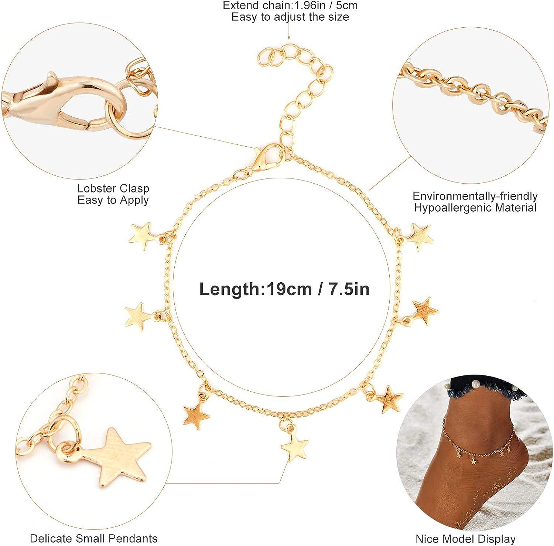 Tacobear 18 Pi/èces Bracelet de Cheville Chaine de Cheville pour La Plage Bracelet de Pied Tendance Boh/ême Ajustable Anklet Bracelet Accessoires Bijoux pour Femmes et Filles