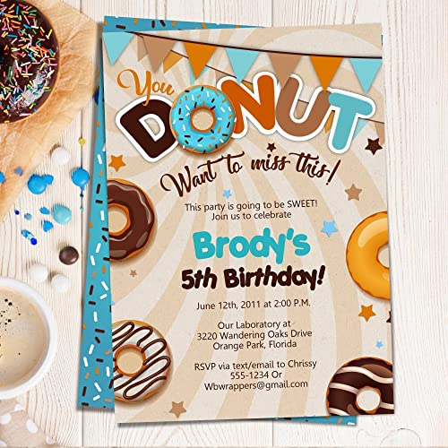 Amazon Donut Birthday Party Invitations BOY