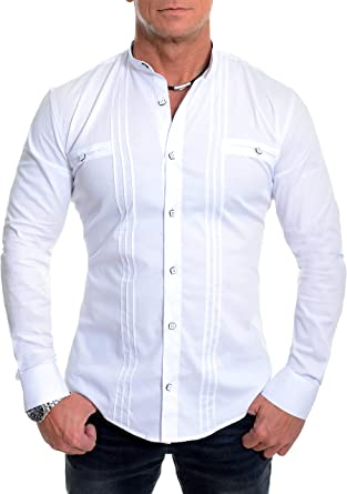 D&R Fashion los Hombres la Camisa Elegante con Cuello en Banda Slim Fit algodón Blanco Negro: Amazon.es: Ropa y accesorios
