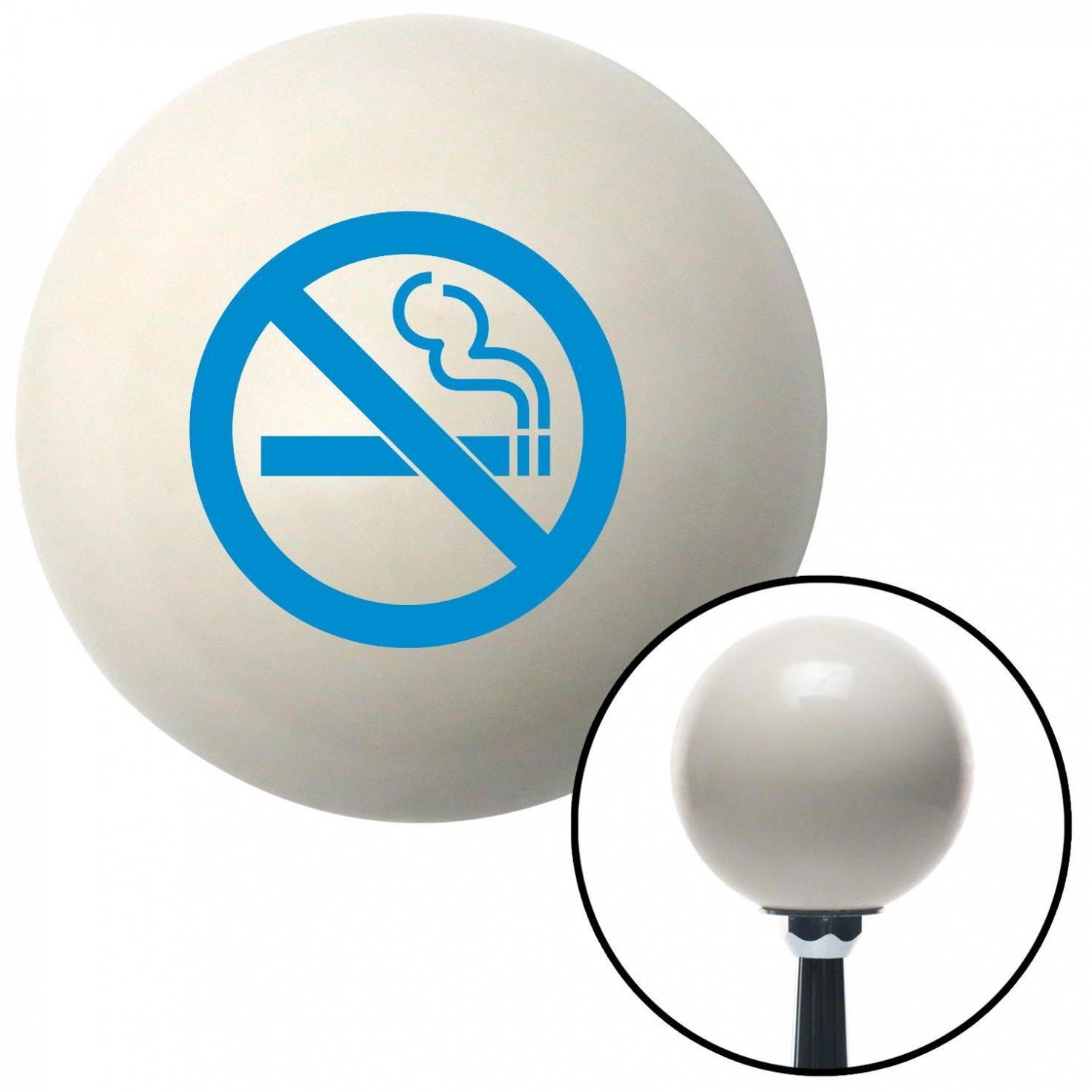 Blue No Smoking American Shifter 34123 Ivory Shift Knob with 16mm x 1.5 Insert