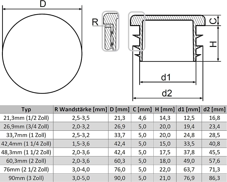 3//4 Zoll rund Schwarz Lamellenstopfen 20 St/ück Rohrstopfen /Ø26,9mm