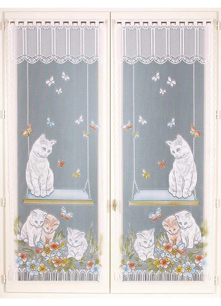HomeMaison Paire de Vitrages Frangés Impression Chaton, Polyester, Peint, 120x60 cm HM6930953A