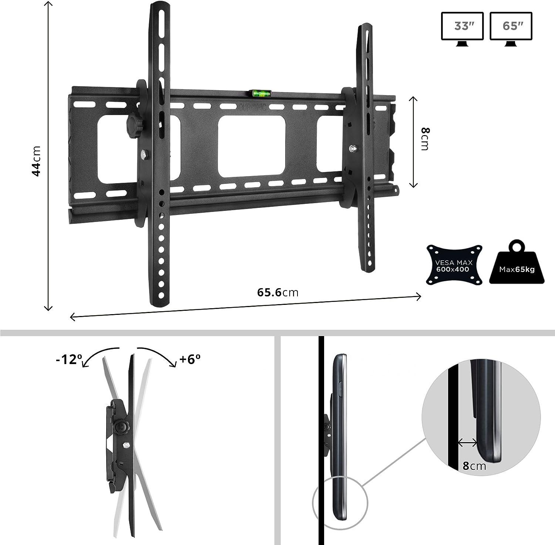LCD LED Monitor de 23 a 42 Pulgadas Curvada SOLO Compatible con VESA 200 Duronic TVB103M Soporte TV de Pared Fijo Ultra Delgado para Pantalla 400 600 Plasma