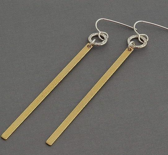 5a7046b56 Amazon.com: 3 inch long bar dangle earrings tiny sterling silver hoop  hypoallergenic nickel free: Handmade