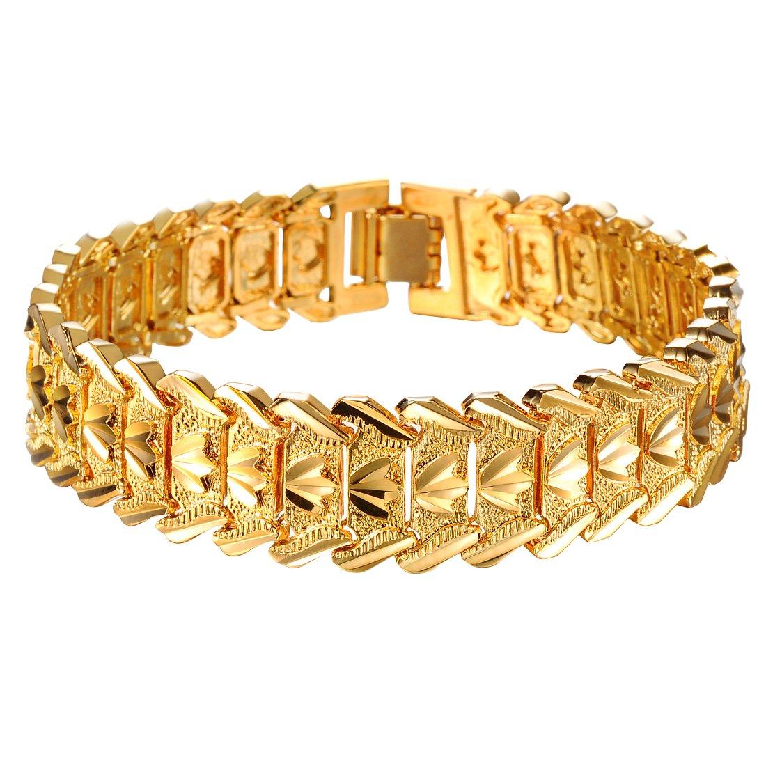 a074c062c1d5c OPK Jewellry Men s 18K Gold Plated Bracelet Bangle Cool Chain Link Crown  Wristband Wedding Gift 210mm  OPK  Amazon.co.uk  Jewellery