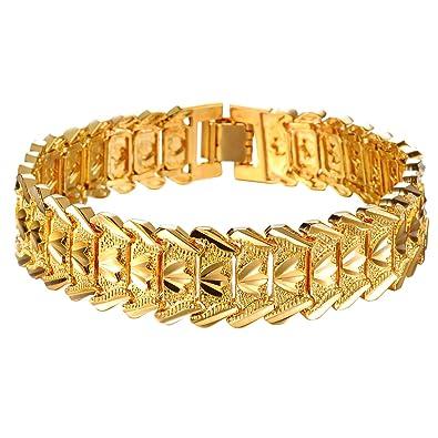 vente chaude en ligne a7b21 7f7f1 OPK Bracelet plaqué or 18 carats pour homme 21 cm: OPK ...