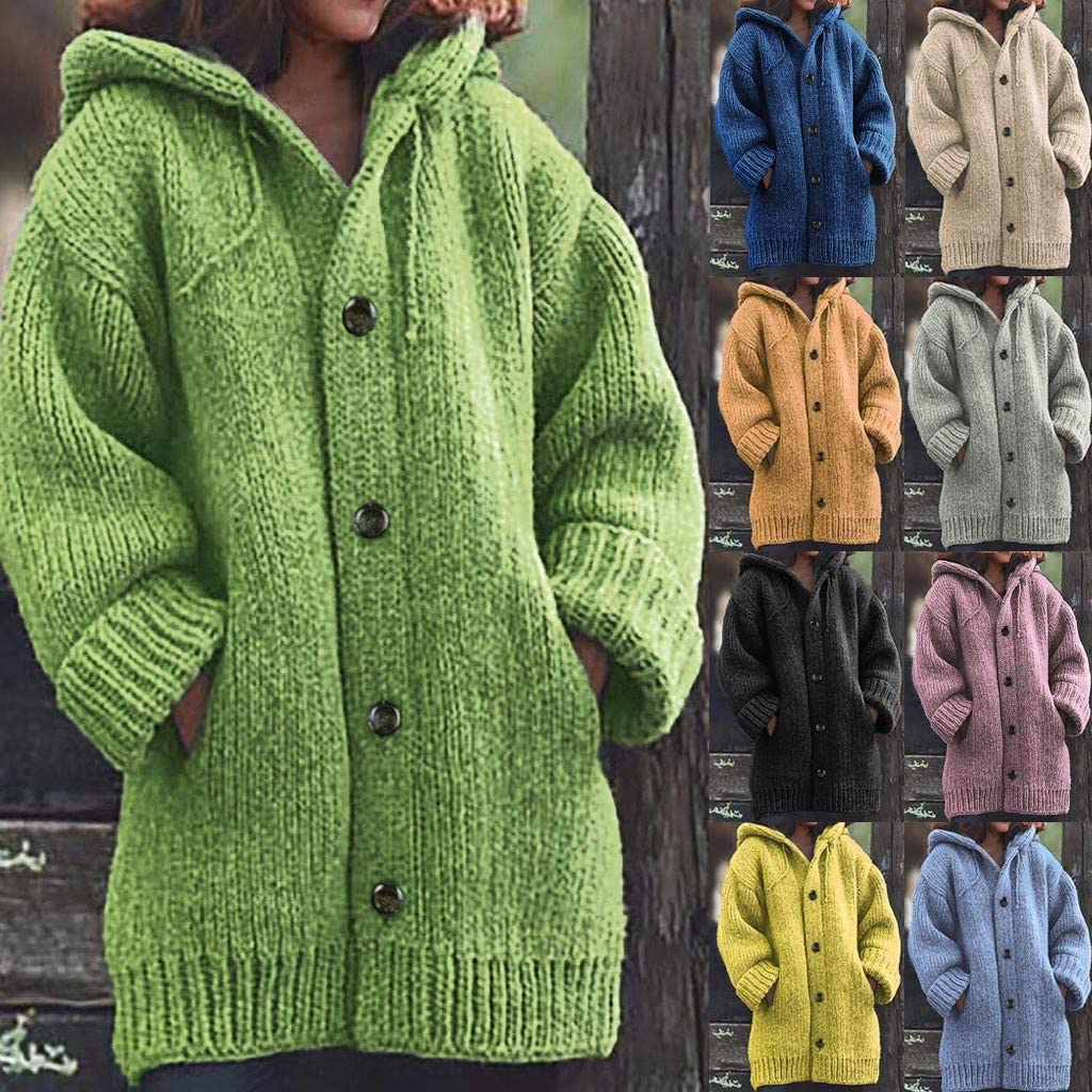 Sweater Coats for Women, Ulanda Womens Button Up Oversized Knit Hooded Long Cardigan Sweater Coat Outwear with Pockets