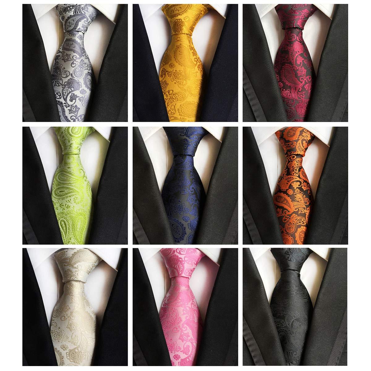 Jeatonge Lot 6pcs Mens Ties and 3pcs Tie Clips, Men's Classic Tie Necktie Woven Jacquard Neck Ties (9-11)
