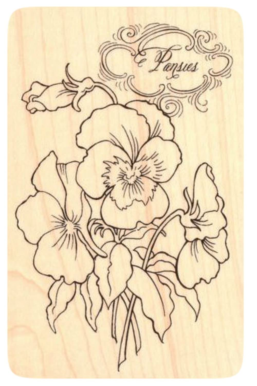 {Single Count} Unique /& Custom Fancy Pansy Bouquet /& Pansies Text Rectangle Shaped Genuine Wood Mounted Rubber Inking Stamp 3 by 4 1//2 Inches
