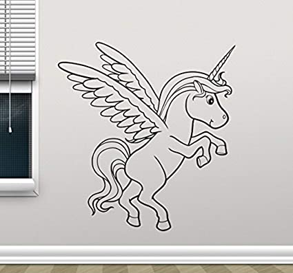 Amazoncom Unicorn Wall Decal Einhorn Horse Cartoon Cute