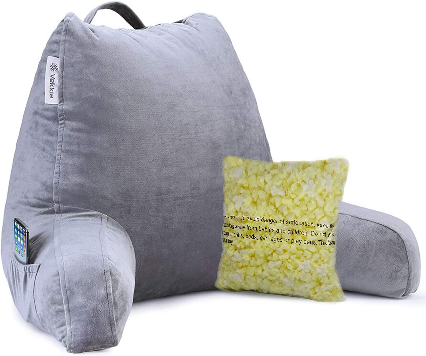 Vekkia Reading Ranking TOP20 Bed All items free shipping Rest Pillow Pockets with Arms Support Mem