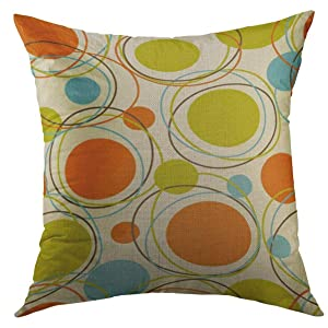 Mugod Decorative Throw Pillow Cover for Couch Sofa,Colorful 1950S Retro Abstract Mid Century 1960S Modern Home Decor Pillow case 18x18 Inch