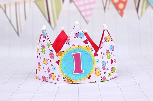 Corona cumpleaños bebe hecho a mano con tela de algodón y ...