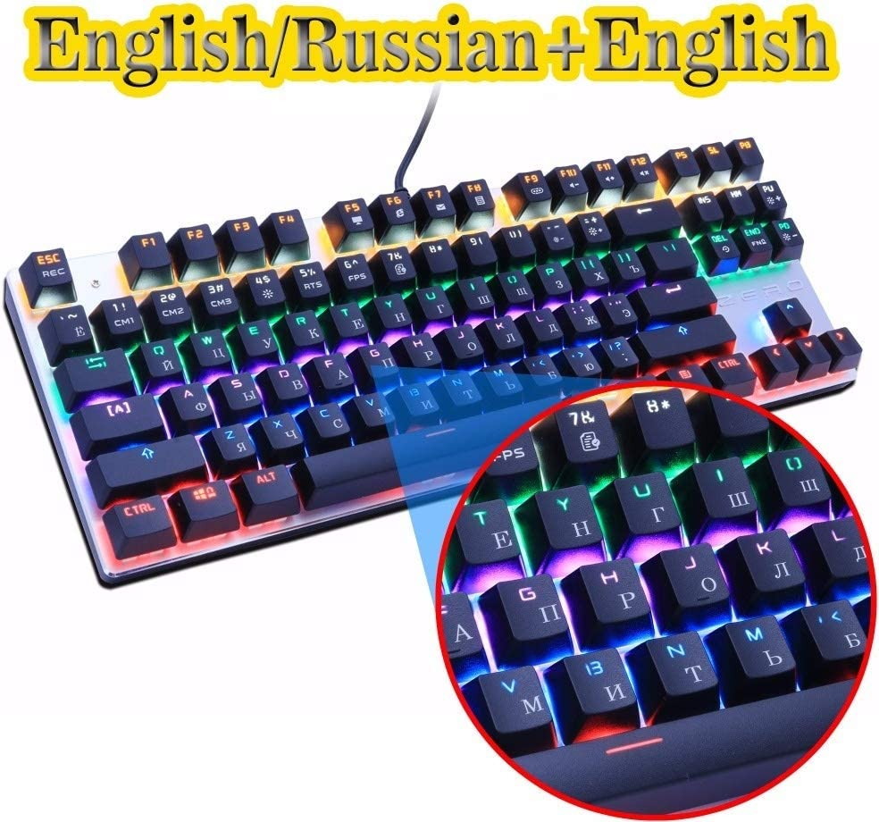 Axis Body : Black Switch, Color : Black 87 US HUOGUOYIN Gaming Keyboard Gaming Mechanical Keyboard Blue//Black//Red Switch Anti-ghosting Backlight Wired USB for Gamer Russian//English Keyboard