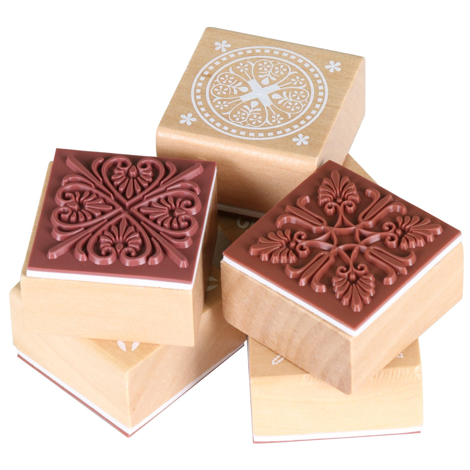 Wooden Rubber Stamps - Lace Pattern - Lace Pattern - Pack of 6 ...