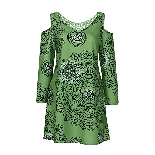 Amazon.com : Clearance!Youngh Womens Dress Plus Size Print Loose Long Sleeve Hollow out Strapless Above Knee Sun Causal Dresses Blouses : Grocery & Gourmet ...
