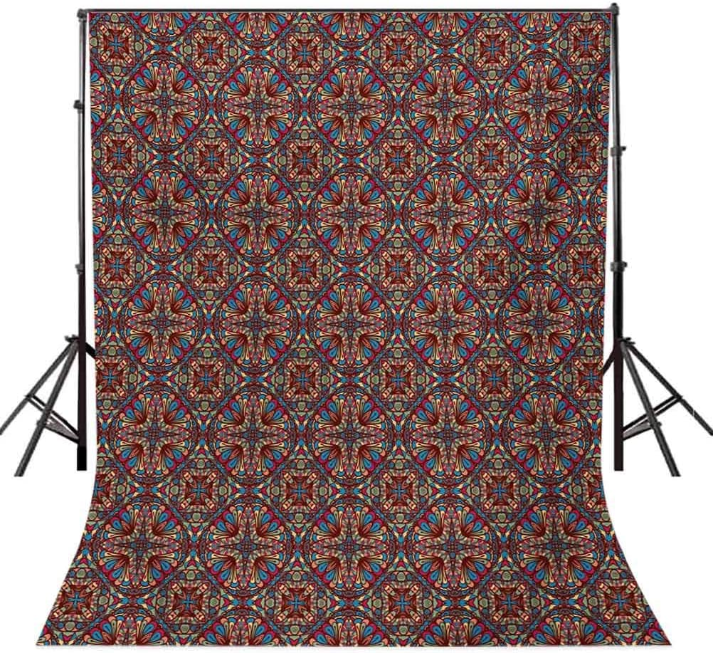 10x12 FT Backdrop Photographers,Kaleidoscope Stained Glass Seemed with Colorful Floral Like Detailed Background for Baby Shower Birthday Wedding Bridal Shower Party Decoration Photo Studio