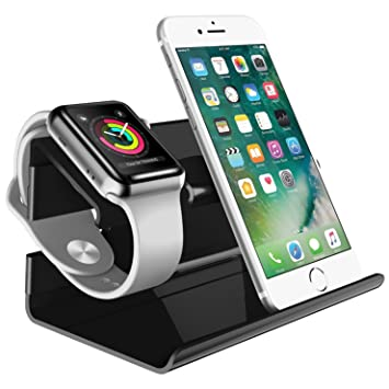 BENTOBEN iPhone Cargador Dock, PC Apple Watch Soporte Docking Station Holder Display Cradle para iPhone 7/7 Plus/6S/6S Plus/6/6 Plus/5S/5/SE iWatch ...