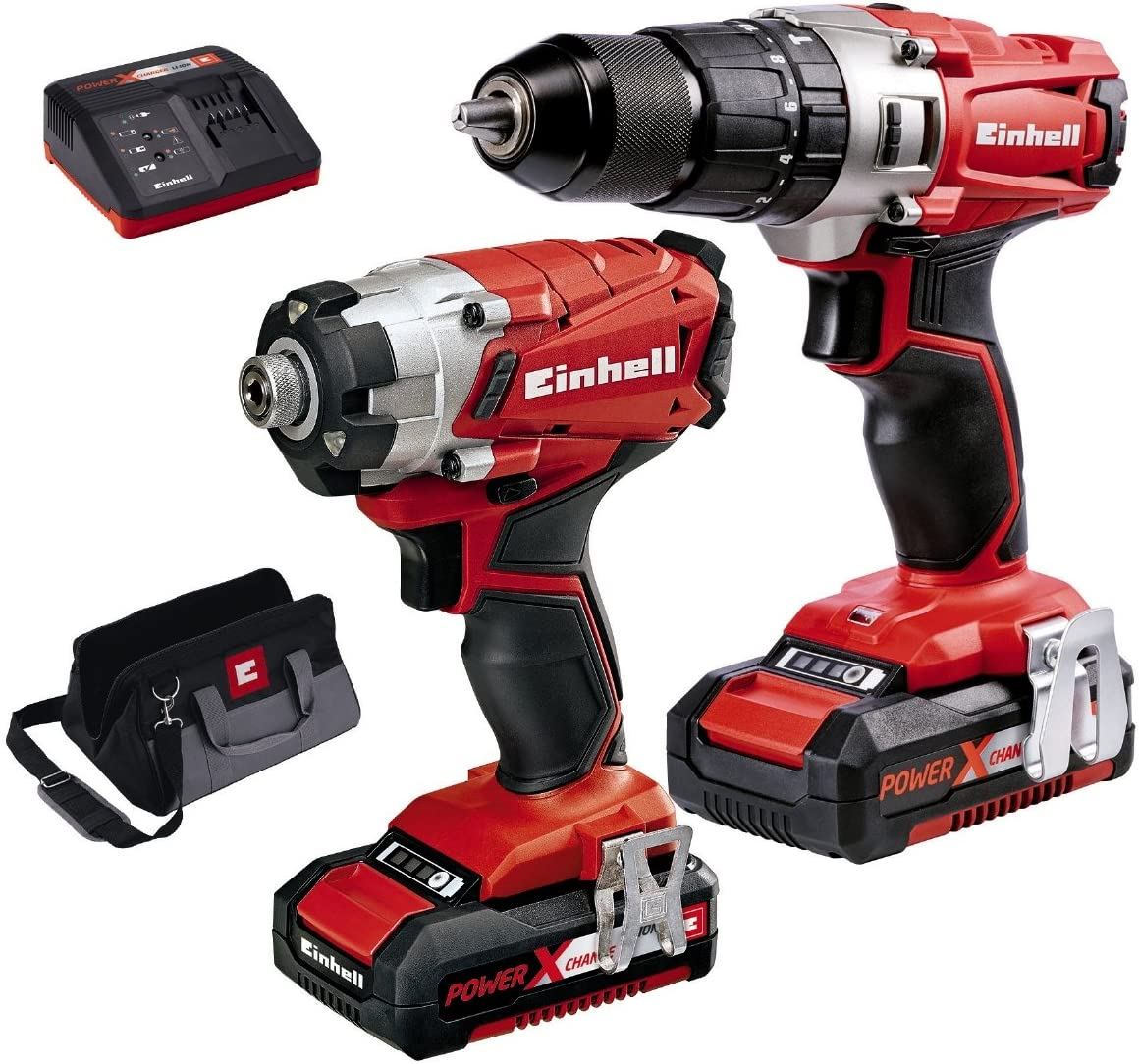 Red Einhell 4257201 Power X-Change Combi and Impact Driver Twin Pack