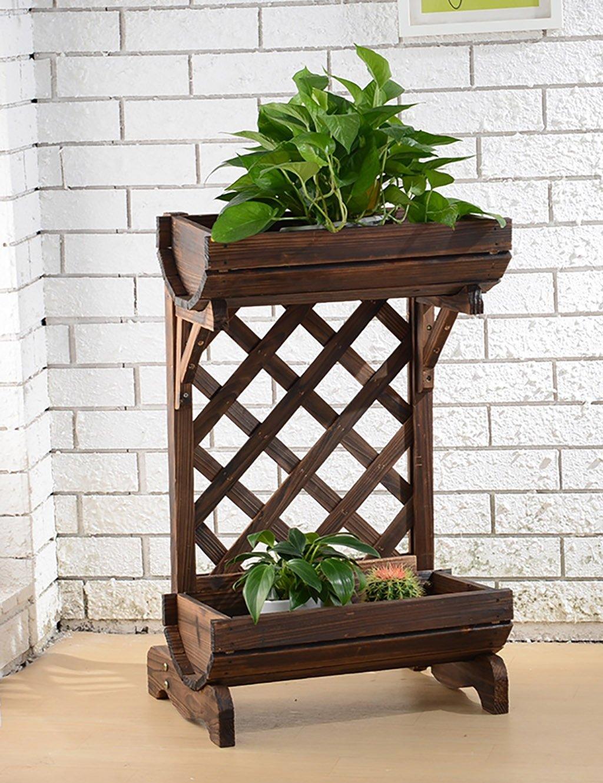 GAOCHAOXIANGHJ Blumentopf Regal Korrosionsschutz Hölzern Bodenart 2-Schicht Blumenregal europäischer Stil Ländlichen Innen- Bonsai steht Setzen Sie Ablagerungsregale auf