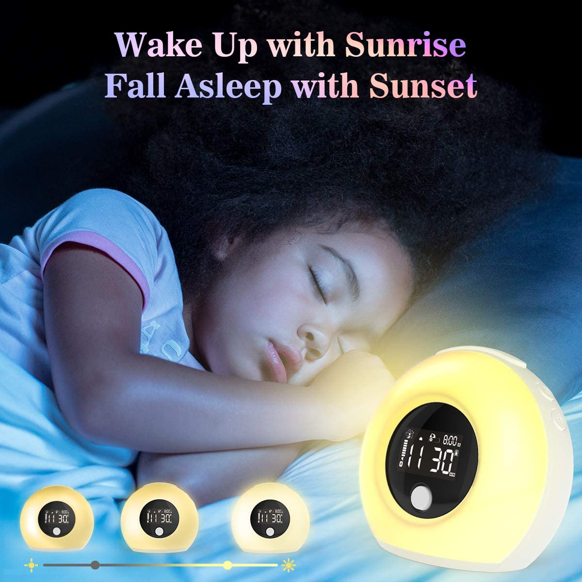 Sinohrd Wake Up Light Alarm Clock, Kids Night Light with Wireless Bluetooth Speaker, Tap Knock to Change 5 Color Lights,4 Brightness for Bedroom Living Room Decor,Party,Gift