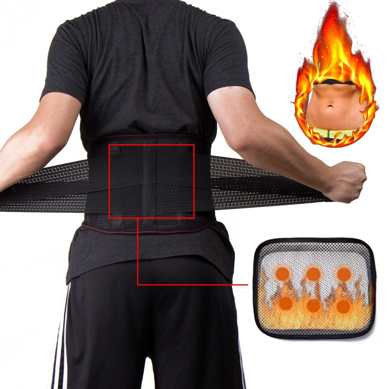KIWI RATA Waist Trimmer Belt Support Brace, Adjustable Lower Back Lumbar Support Straps - Weight Loss Ab Belt, Breathable Stomach Wrap Waist Trainer Cincher Girdle for Men & Women