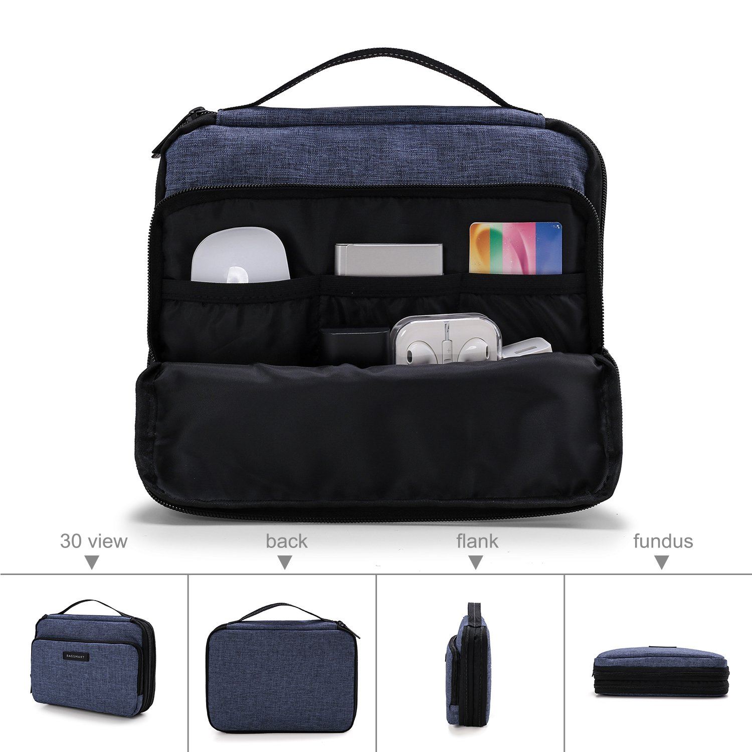 BAGSMART 3-layer Travel Electronics Cable Organizer Bag for 9.7'' iPad, Hard Drives, Cables, Charger, Kindle, Blue by BAGSMART (Image #4)