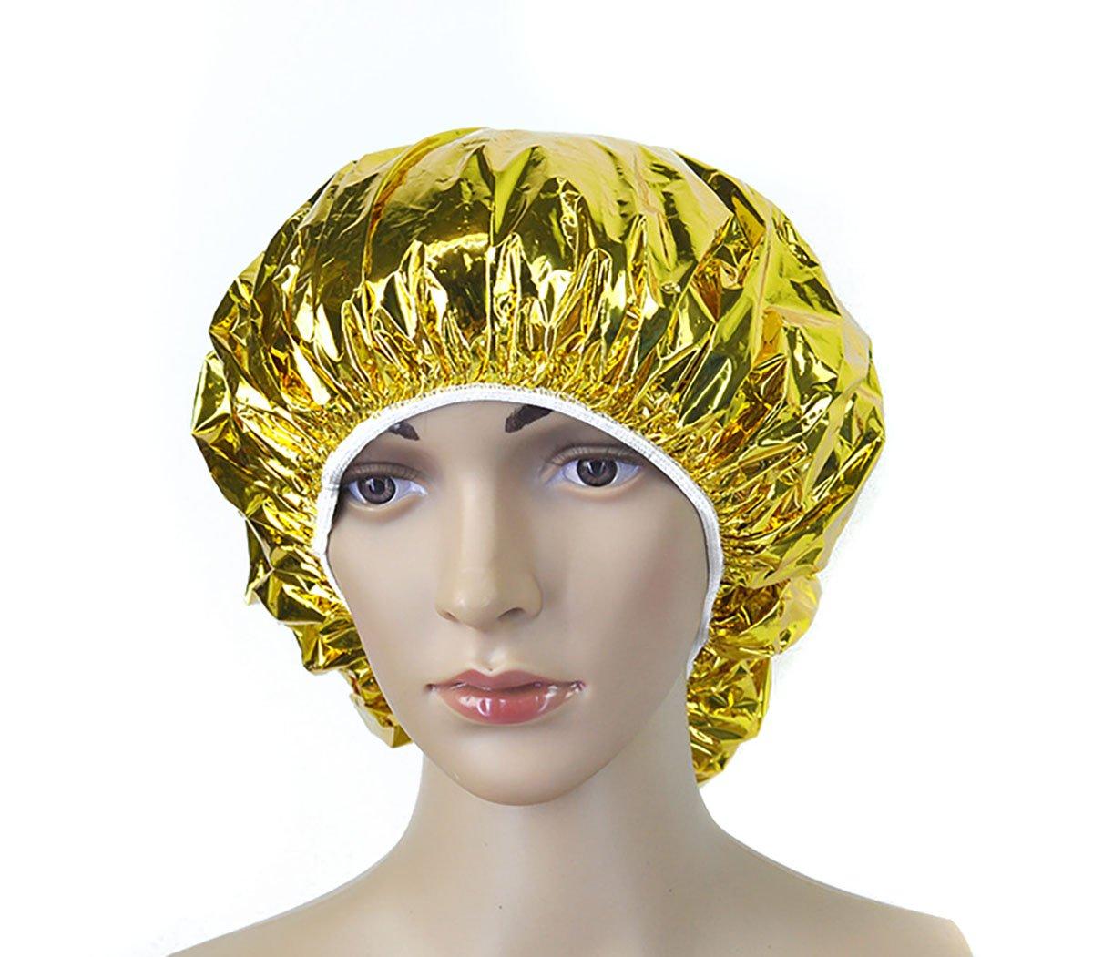 4PCS Salon Aluminum Foil Baking Oil Hair Cap Portable Nourishing Dry Disposable Shower Cap Waterproof Ultra-thin Bath Hat Hoods Bathroom Products (Gold) Flyott