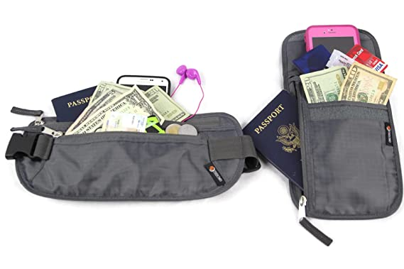 ac3a3673848c Undercover Travel Security Kit: Waist Money Belt & Neck Stash Wallet Combo