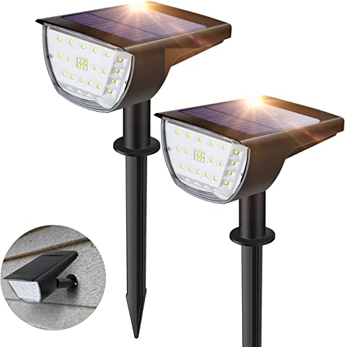 32 LED Solar Landscape Spotlights Outdoor, ZHENREN Waterproof Solar Powered Spotlight Adjustable Wall Light 3 Lighting Modes Cold White 2-in-1 for Tree Yard Garden Patio Pathway, 2 Pack