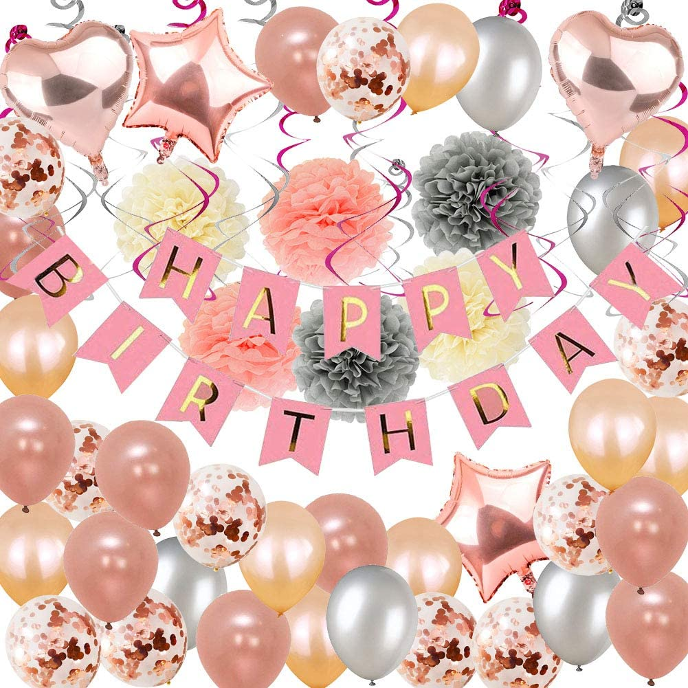 Birthday Decorations, Puchod Happy Birthday Party Decoration Kit Rose Gold Confetti Balloons 71pcs Swirl Champagne Decorations with Paper Pom Pom 13th 16th 18th 21st 30th 40th 50th 60th 70th Party Supplies for Girls Women
