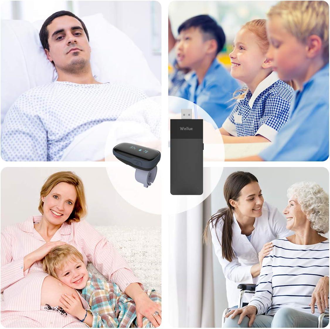 Surveillance du Sommeil Bluetooth Fr/équence Cardiaque SP-O2 Entre Deux Utilisateurs pour Les Soins Familiaux//Cliniques ViATOM Moniteur dOxyg/ène /à Distance avec Liaison WiFi Surveillance Continue