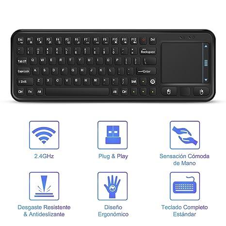 YOHOOLYO 2,4G Mini Teclado Inalámbrico USB con Ratón Touchpad para Android Smart TV Box