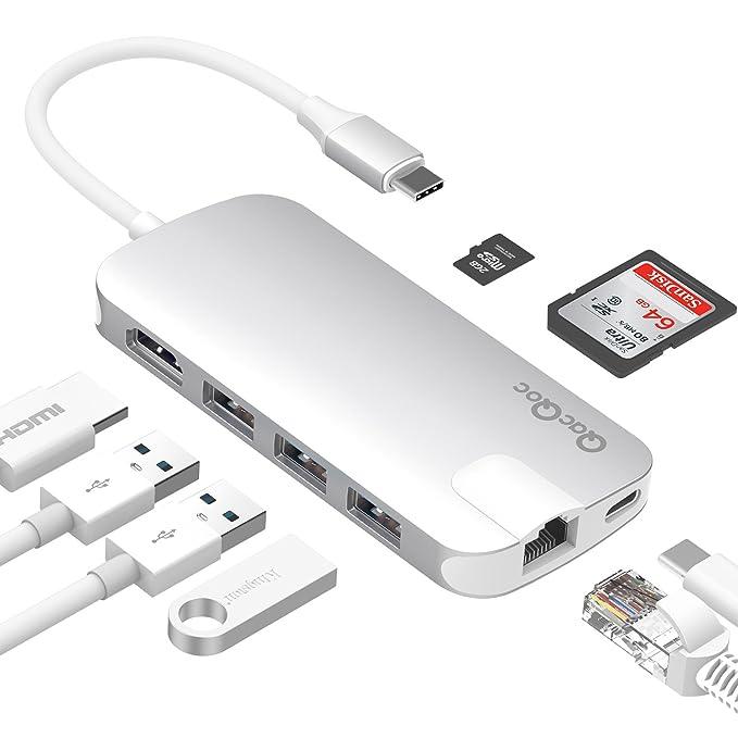 18 opinioni per Hub USB C QacQoc GN30H, Hub Type C con 1 uscita HDMI @4K a 30Hz, 1 porta LAN, 3