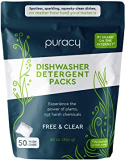 product image for Puracy Platinum Dishwasher Detergent Pods, Natural Enzyme Powder Tablets, Spot & ResidueFree Dish Packs, 50 Count , Free & Clear