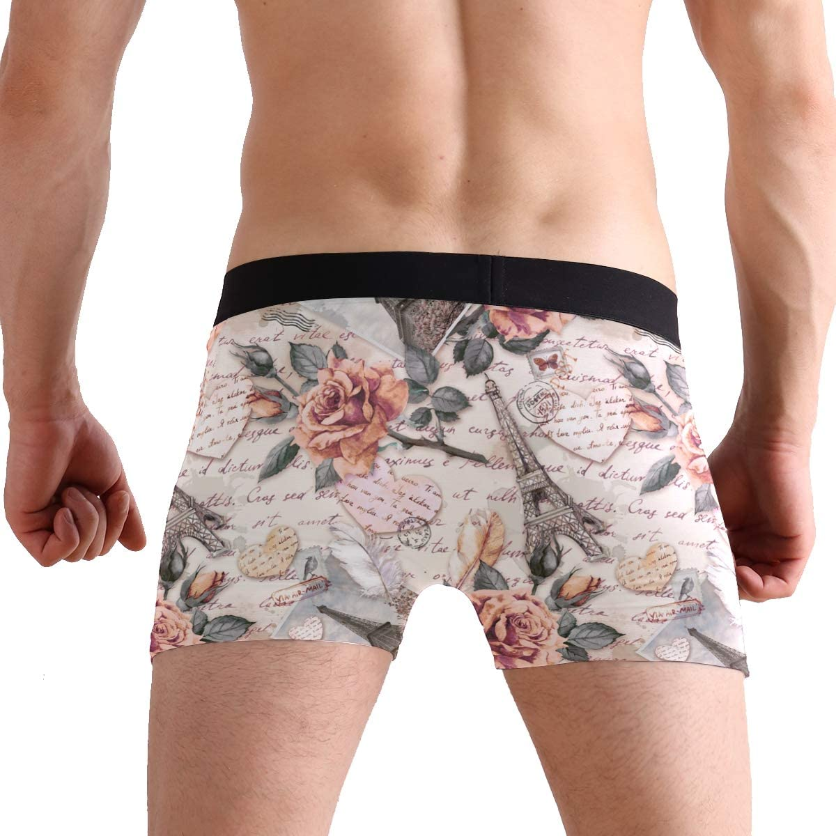 BETTKEN Mens Boxer Briefs Eiffel Tower Paris Flower Short Underwear Soft Stretch Underpants for Men Boys S-XL