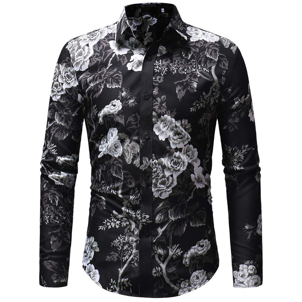 Mens Shirt Casual Print Floral Long Sleeve Button Blouse