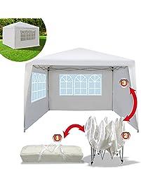 EZ POP UP Wedding Party Tent 10'x10' Folding Gazebo Beach Canopy W/Carry Bag with sidewalls Side Panel