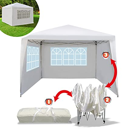 dc6c8419cd Amazon.com : BenefitUSA EZ POP UP Wedding Party Tent 10'x10' Folding Gazebo  Beach Canopy W/Carry Bag with sidewalls Side Panel : Garden & Outdoor