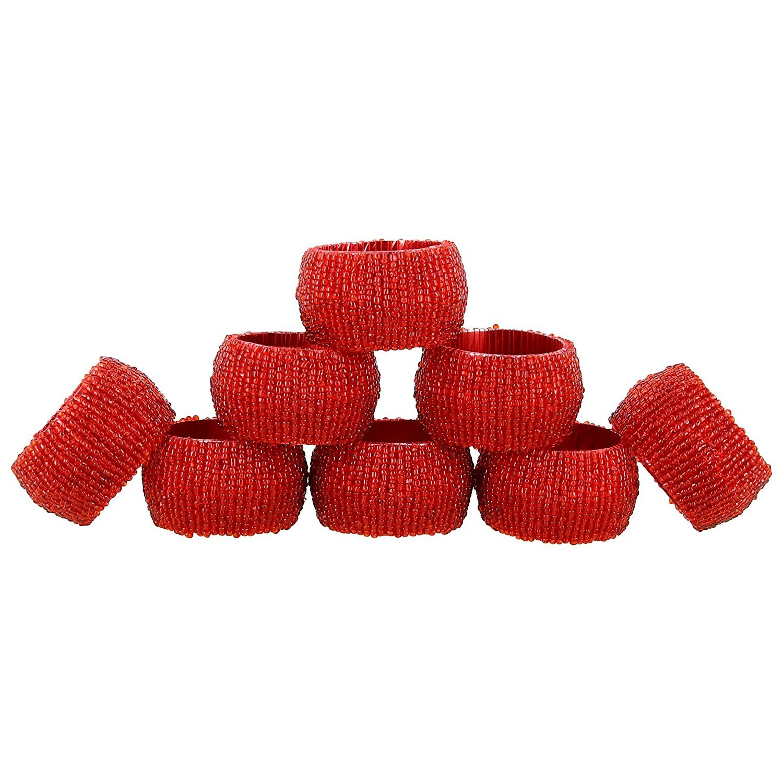 Handmade Indian Red Beaded Napkin Rings - Set of 8 Rings… ShalinCraft