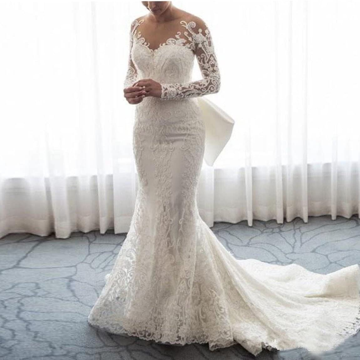 Ainisha Women S Elegant Long Sleeves Mermaid Wedding Dress Ball