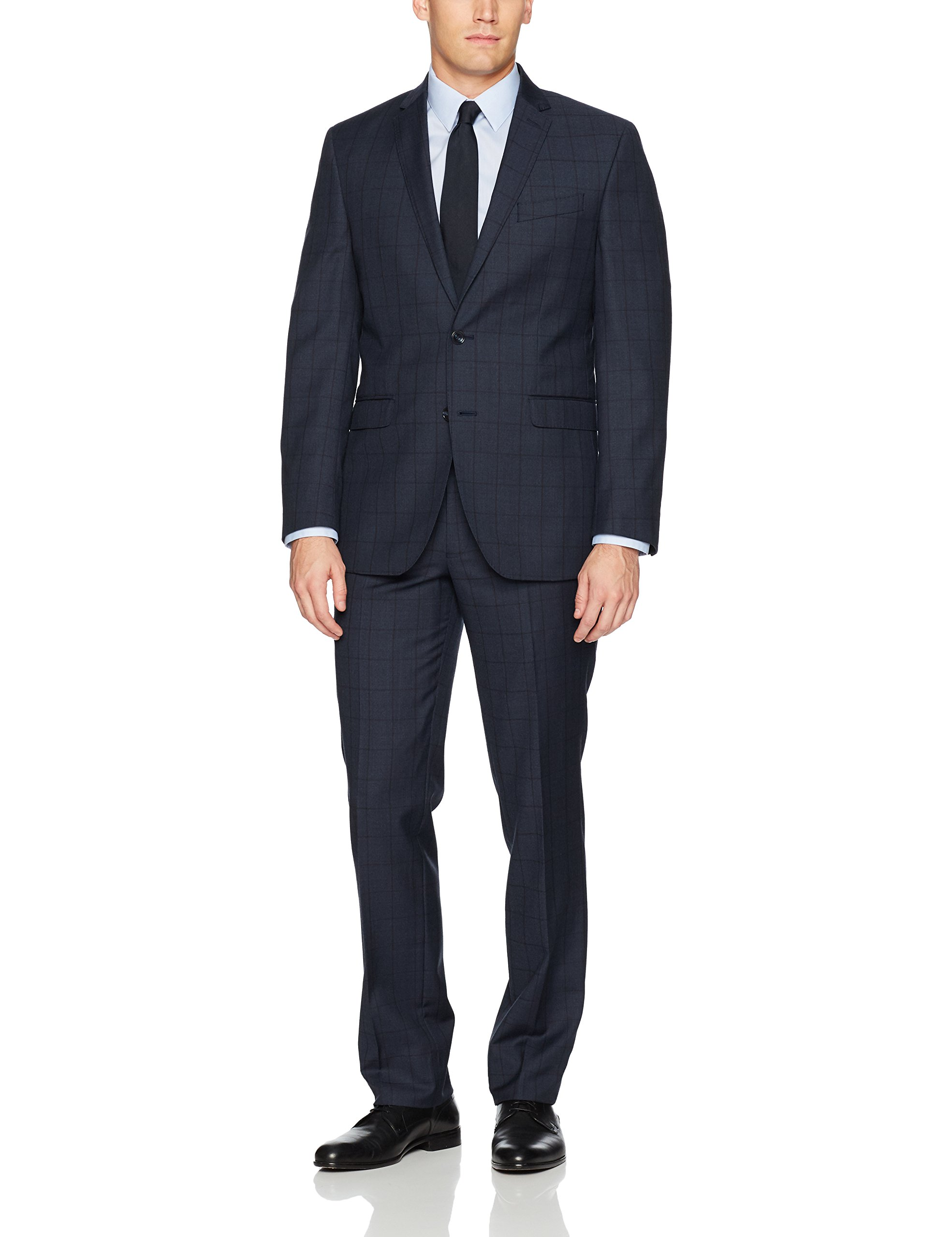 Kenneth Cole New York Men's Slim Fit 2 Button Suit with Side Vent, Navy Berry, 40 Long by Kenneth Cole New York