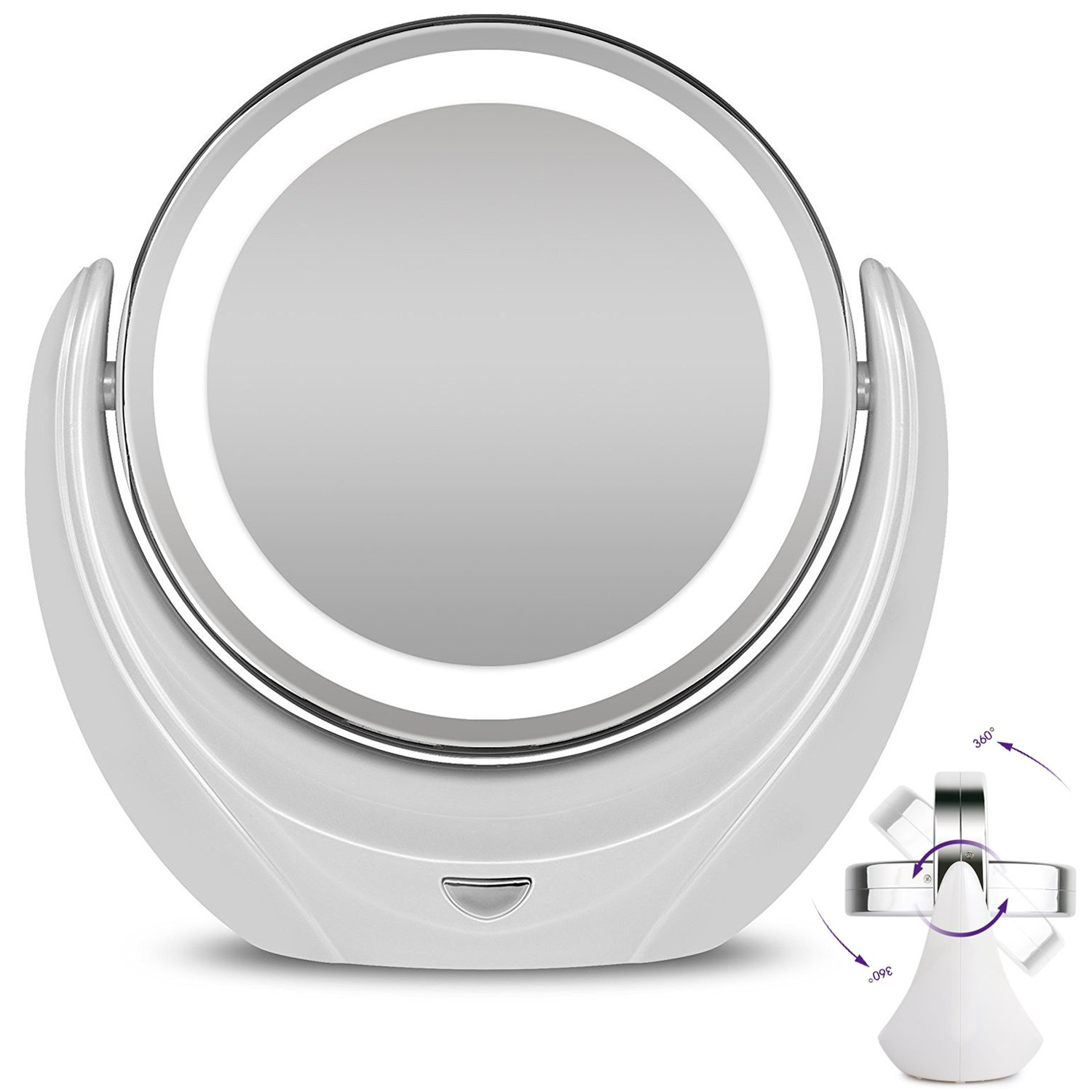 Rantizon Makeup Mirror LED Illuminated Cosmetic Mirror 1X/5X Magnification Double Face 360°Rotation Shaving Mirror for Beauty, Tabletop, Bathroom, Bedroom, Travel Mirror with Stand, Double Sided