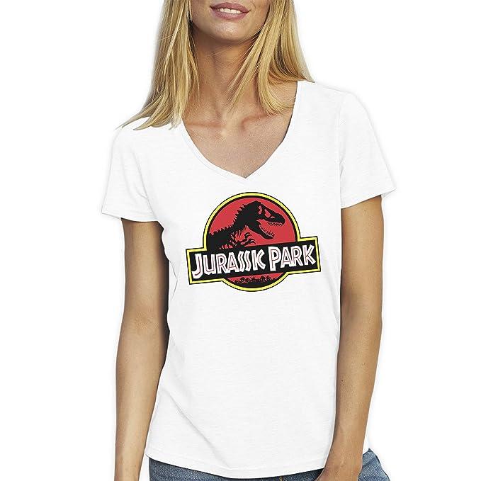Friendly Bees Jurassic Park Dino Logo Blanca T-Shirt Camiseta Cuello V para la Mujer Medium: Amazon.es: Ropa y accesorios