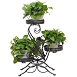 3 Tiered Scroll Decorative Black Metal Garden Patio Standing Plant Flower Pot Rack Display Stand Holds 3 Flower Pot
