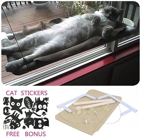 COUTUDI Katzenfenster Hängematte/Barsch für Sonnenbad, Bequemes stillstehendes Schlafbett für große Katzen-Miezekatze von bis