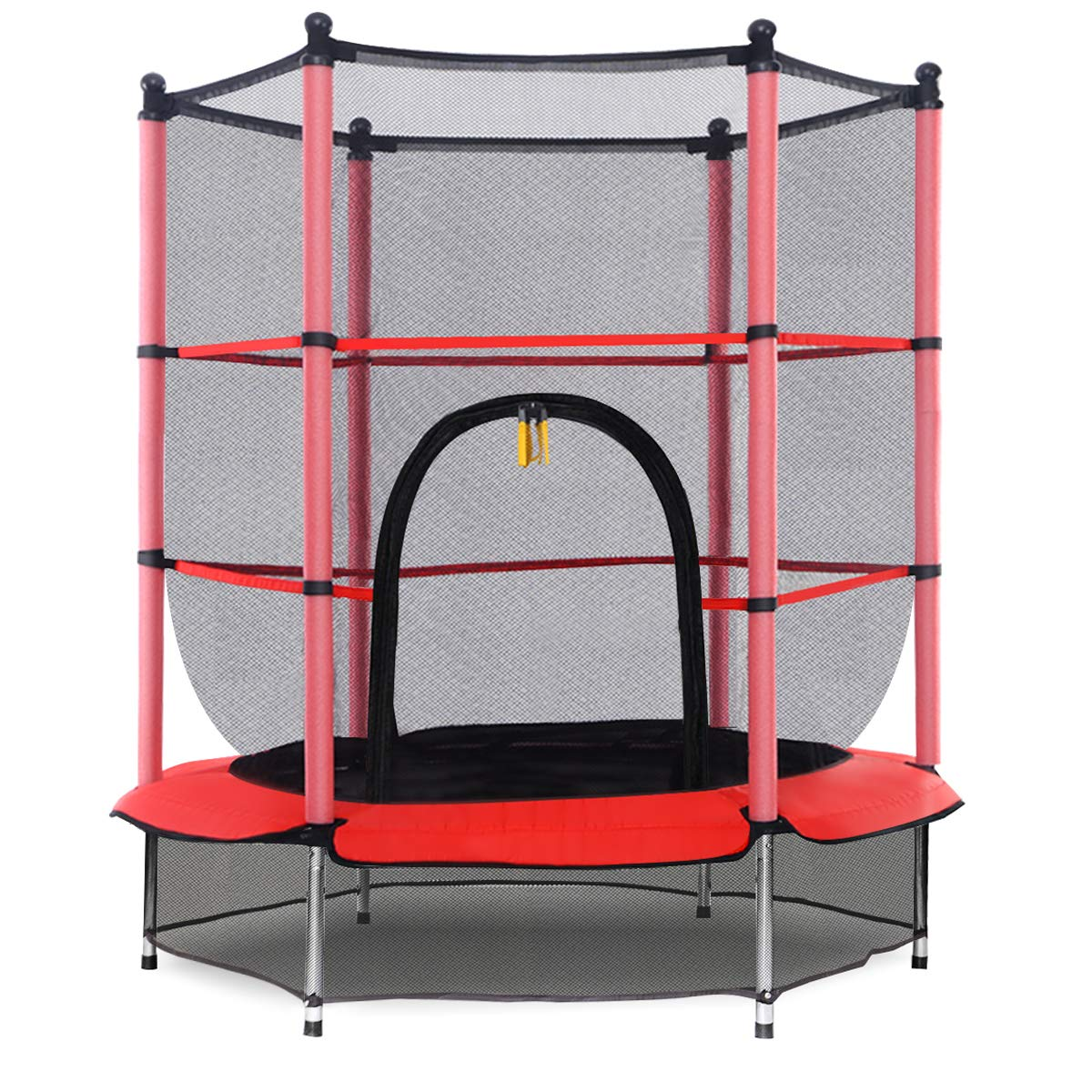 Giantex 55'' Round Kids Mini Jumping Trampoline W/Safety Pad Enclosure Combo (Red)