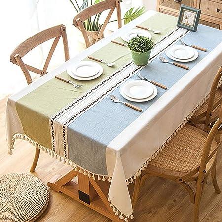 Tenrany Home Rectangulares Manteles Algodon Lino, Antimanchas Mantel de Mesa Raya Gris Tablecloth para Decoración del Hogar Cocina Oficinas (Franja Verde Azul, 140 * 180 cm): Amazon.es: Hogar