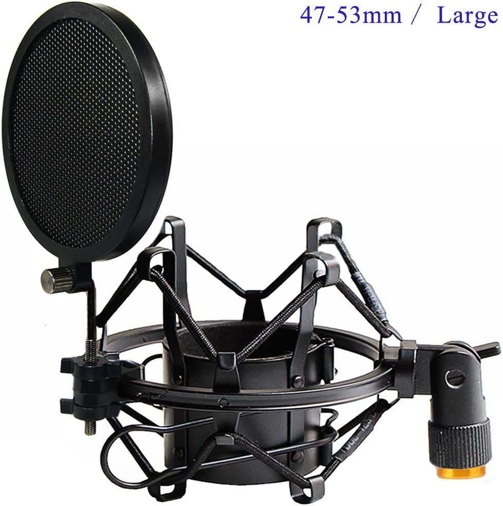 Etubby 47-53mm AT2020 Microphone Shock Mount with Double Mesh Pop Filter & Screw Adapter, Adjustable Anti Vibration High Isolation Metal Mic Mount Holder Clip for Diameter of 47-53mm Microphone